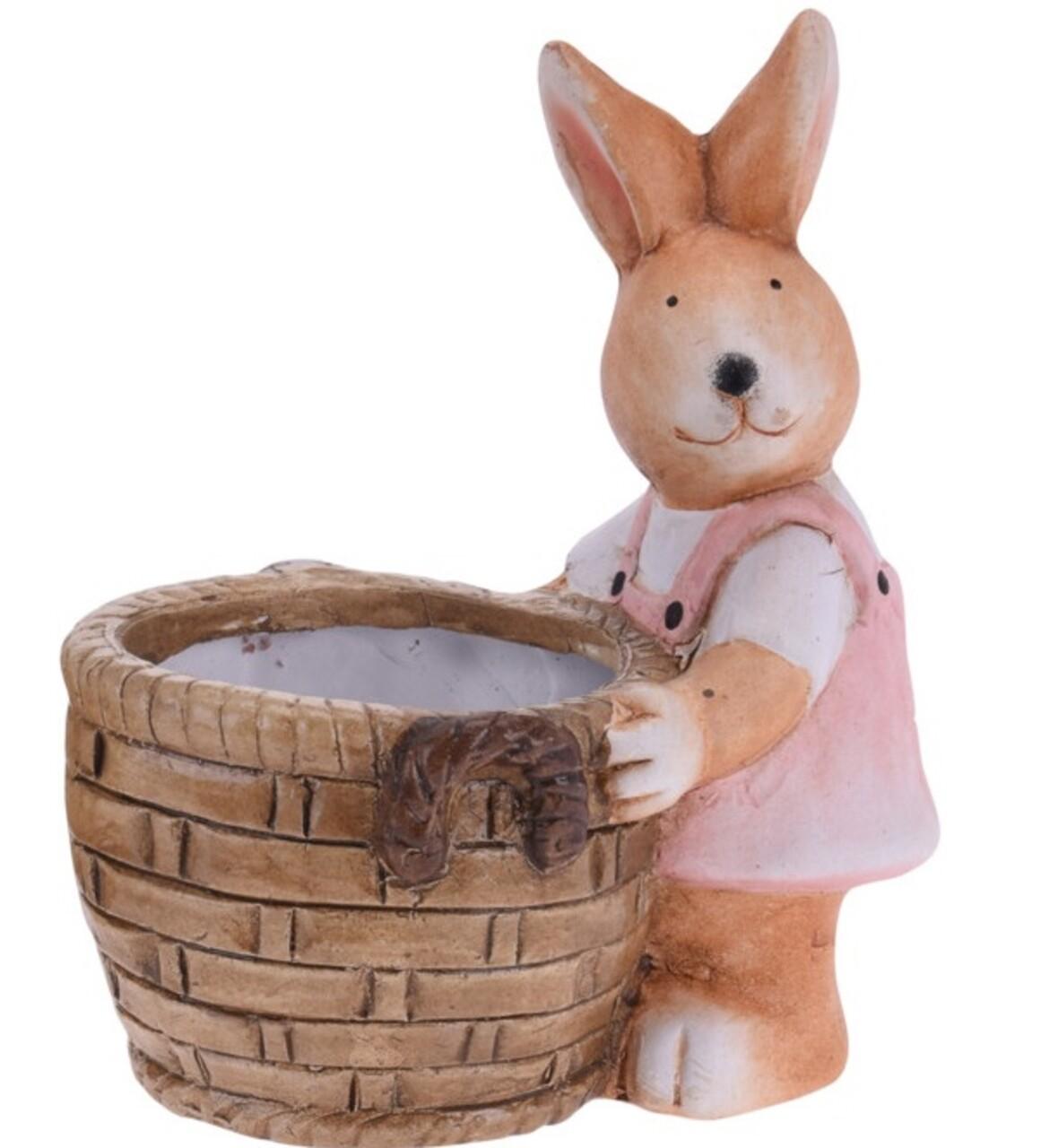 Decoratiune de paste Girl bunny with basket, 13x8.5x15.5 cm, teracota, roz