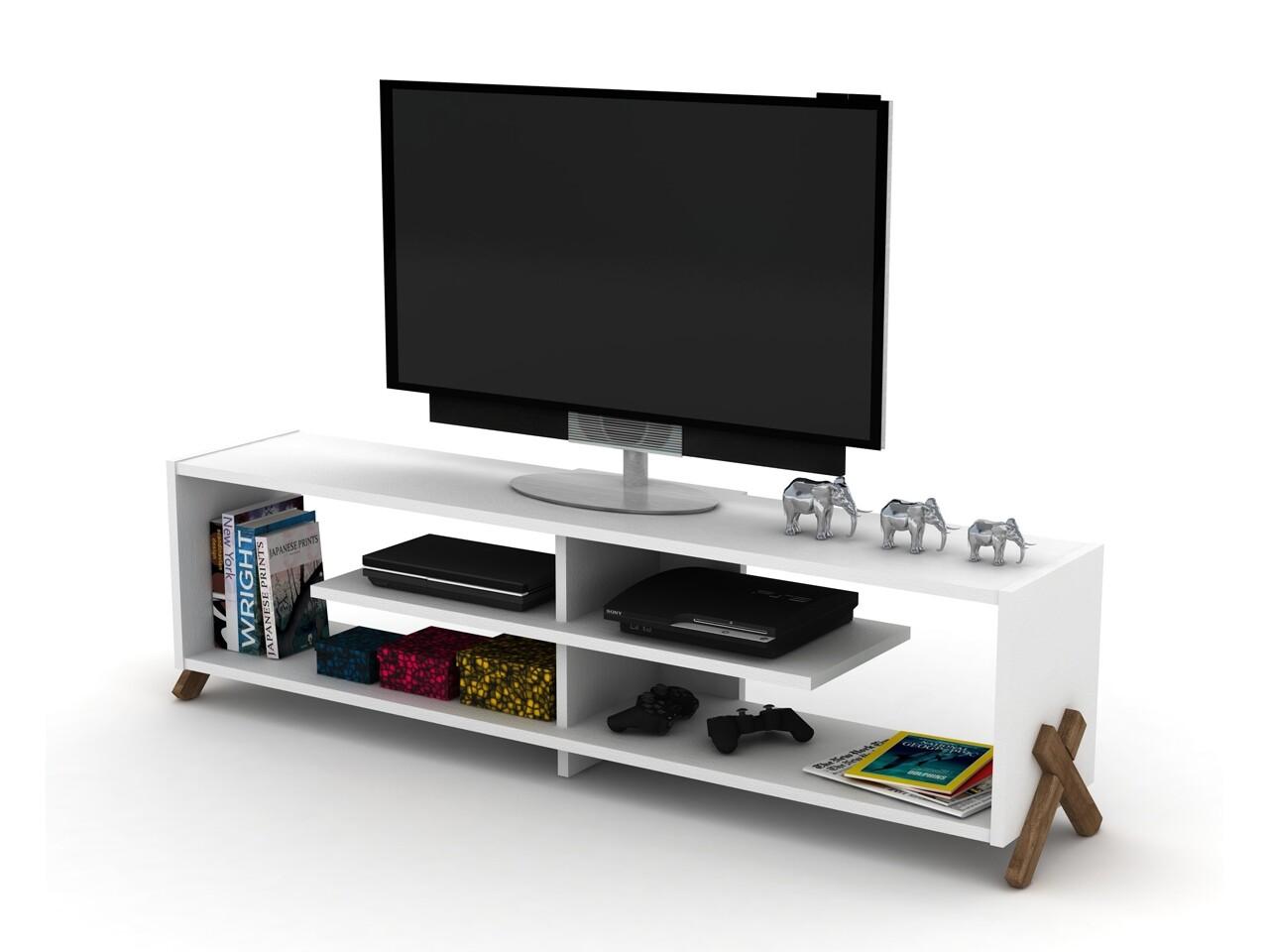 Comoda TV Rafevi Kipp, 145x31x39 cm, Walnut/alb