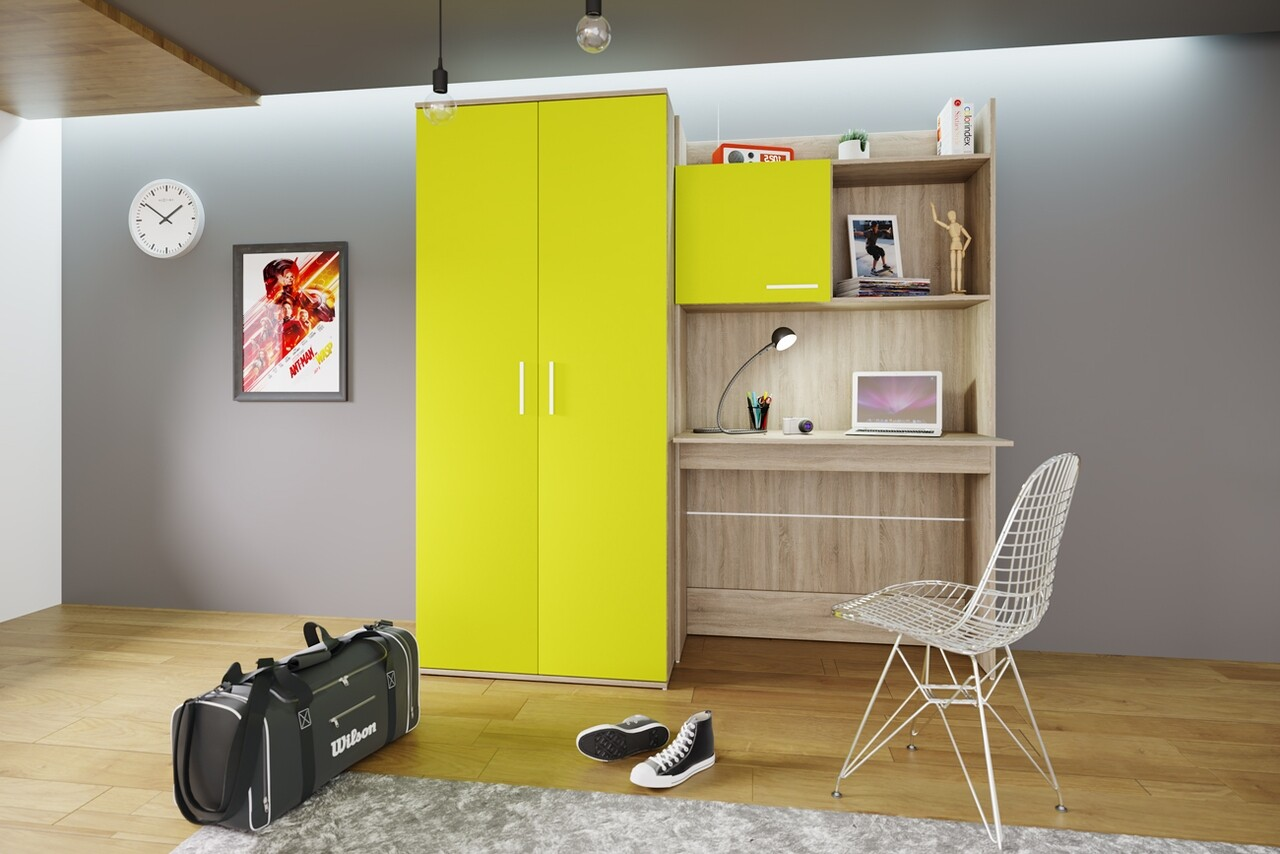 Mobilier pentru camera copilului, Bedora, City 5014, 180 x 52.5 x 180 cm, PAL, sonoma/lemon