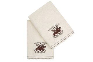 Set 2 prosoape de maini, Beverly Hills Polo Club, 401 - Cream, 50x90 cm, 100% bumbac, crem