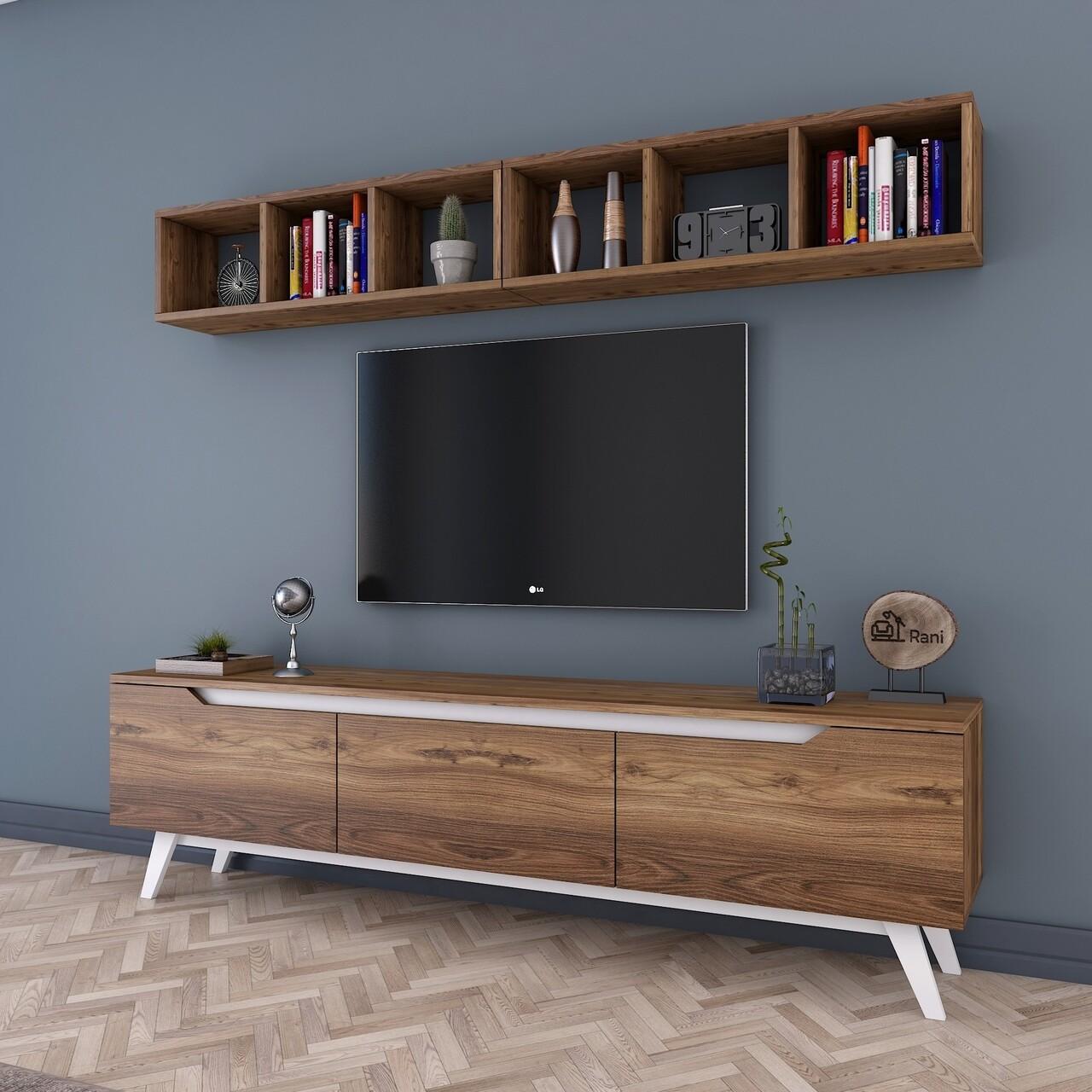 Comoda TV cu 2 rafturi M7 - 835, Wren, 180 x 35 x 48.6 cm/90 cm, walnut/white