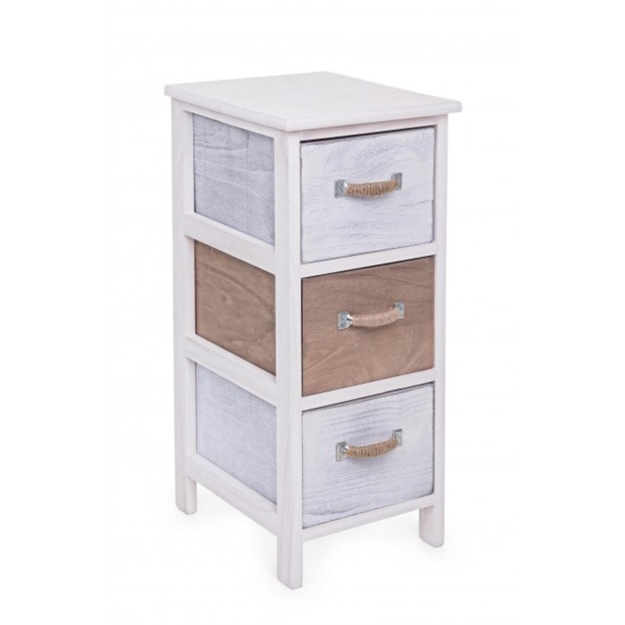 Comoda cu 3 sertare, Meredith, Bizzotto, 26x32x63 cm, lemn de paulownia