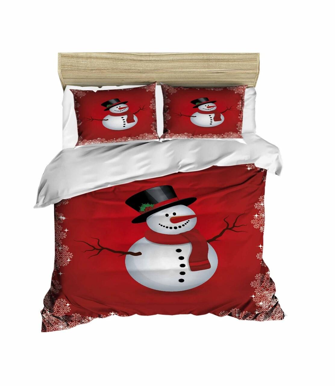Lenjerie de pat pentru doua persoane, Pearl Home, 430, print 3D, policoton, 4 piese, alb/rosu/negru