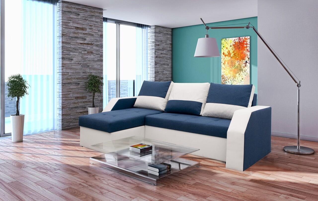 Coltar extensibil Madrid, 226x145x79 cm, 2 lazi depozitare, Reversibil, Alb/Albastru petrol