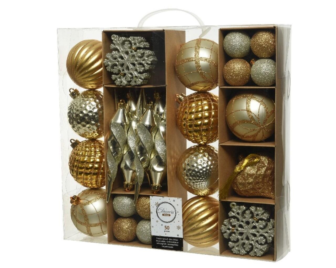 Set 50 globuri, Decoris, Gold mix, plastic, asortate, Auriu/argintiu