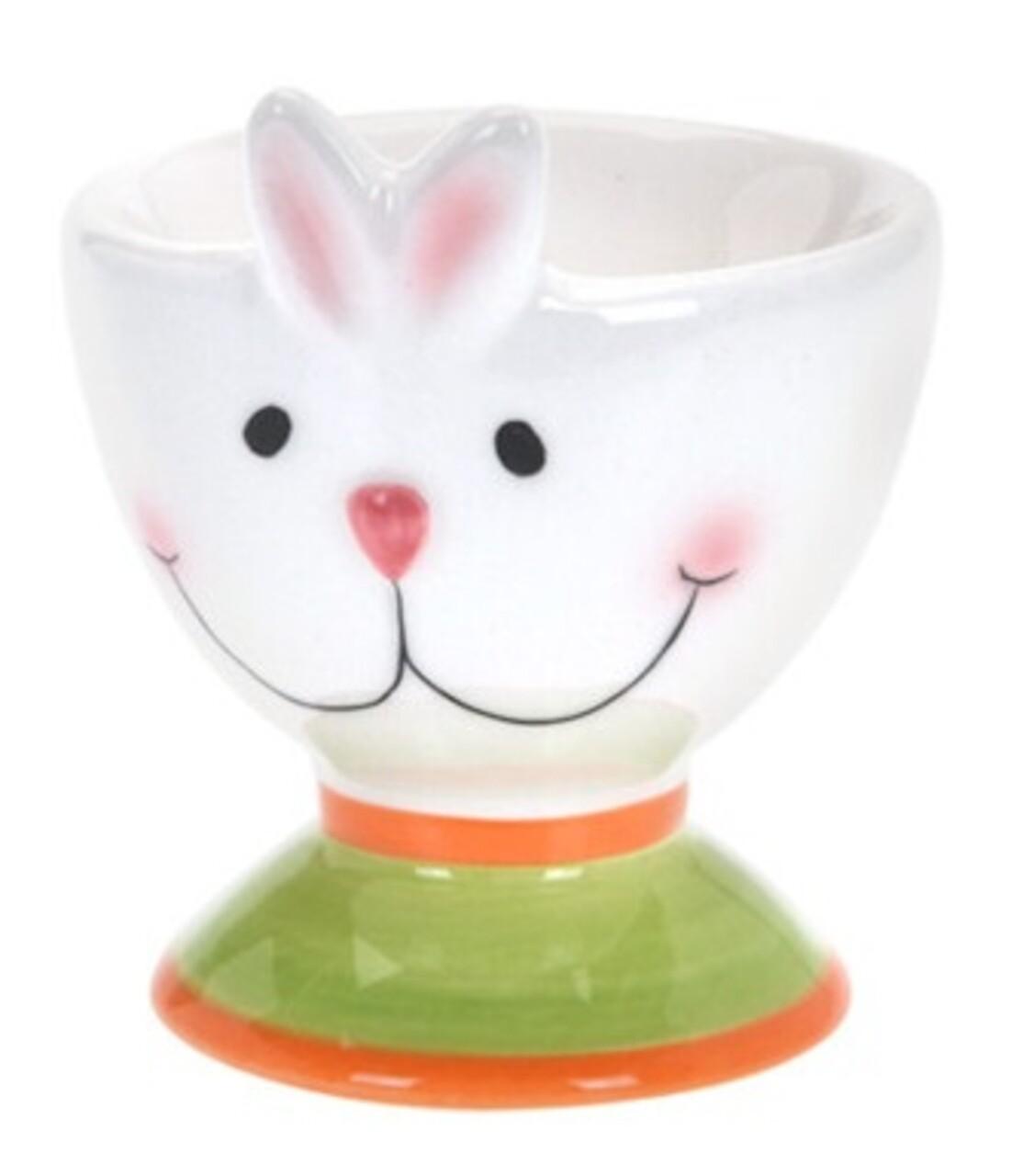 Suport pentru ou White Bunny,  6x7 cm, dolomita, multicolor