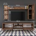 Comoda TV cu 2 rafturi de perete si cabinet M20 - 270, Wren, 180 x 35 x 48.6 cm/90 cm/133 cm, walnut