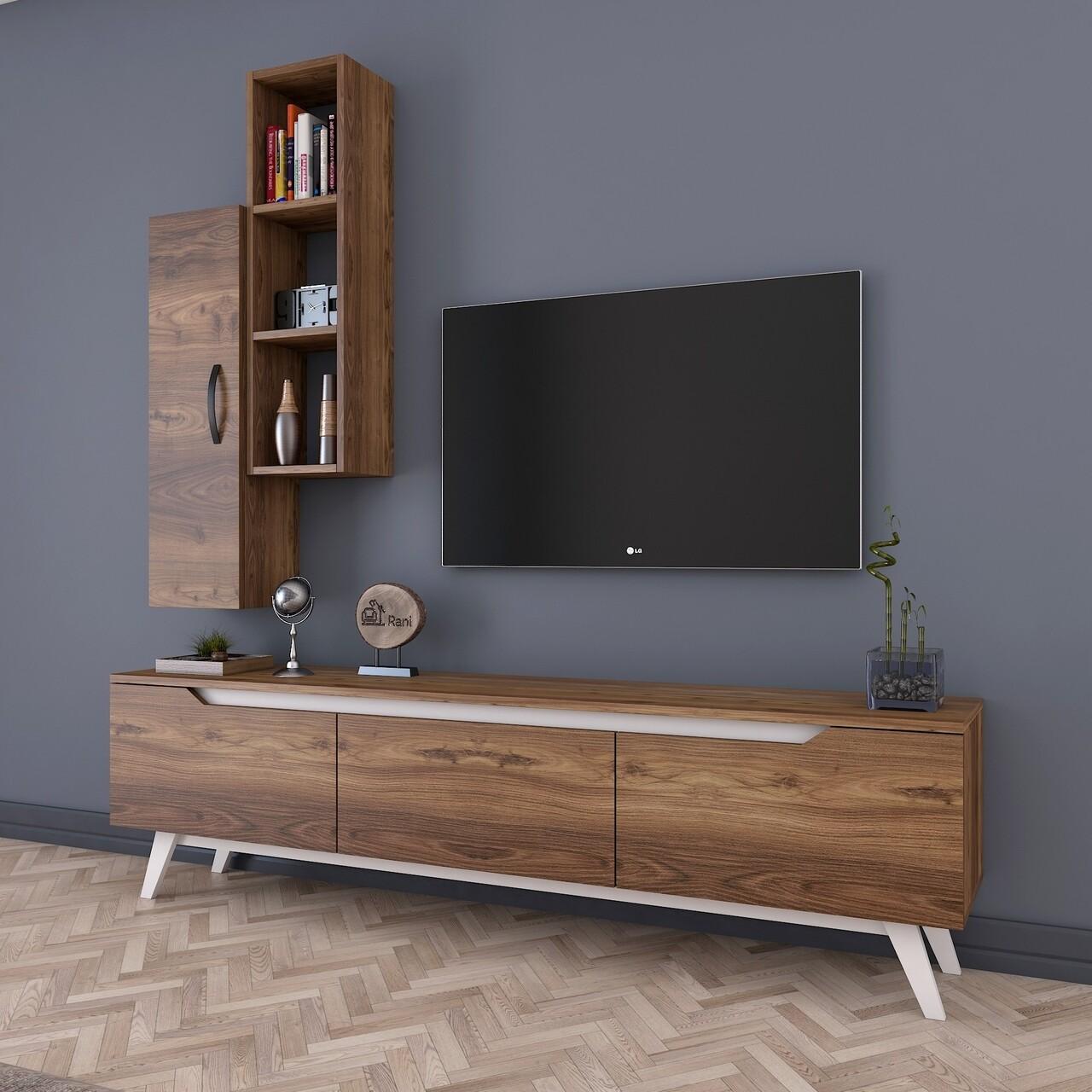 Comoda TV cu raft de perete si cabinet M1 - 823, Wren, 180 x 35 x 48.6 cm/90 cm, walnut/walnut