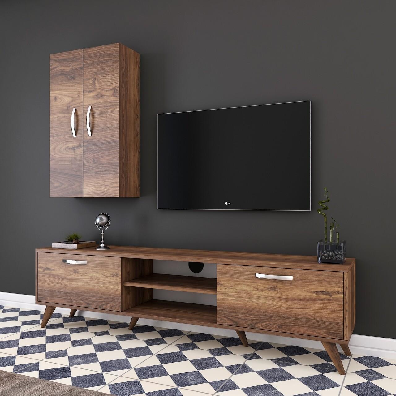 Comoda TV cu 2 cabinete M18 - 266, Wren, 180 x 35 x 48.6 cm/90 cm, walnut