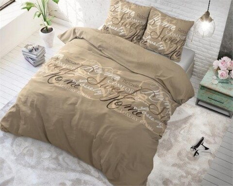 Lenjerie de pat pentru doua persoane Royal Luxury Taupe, Royal Textile,100% bumbac