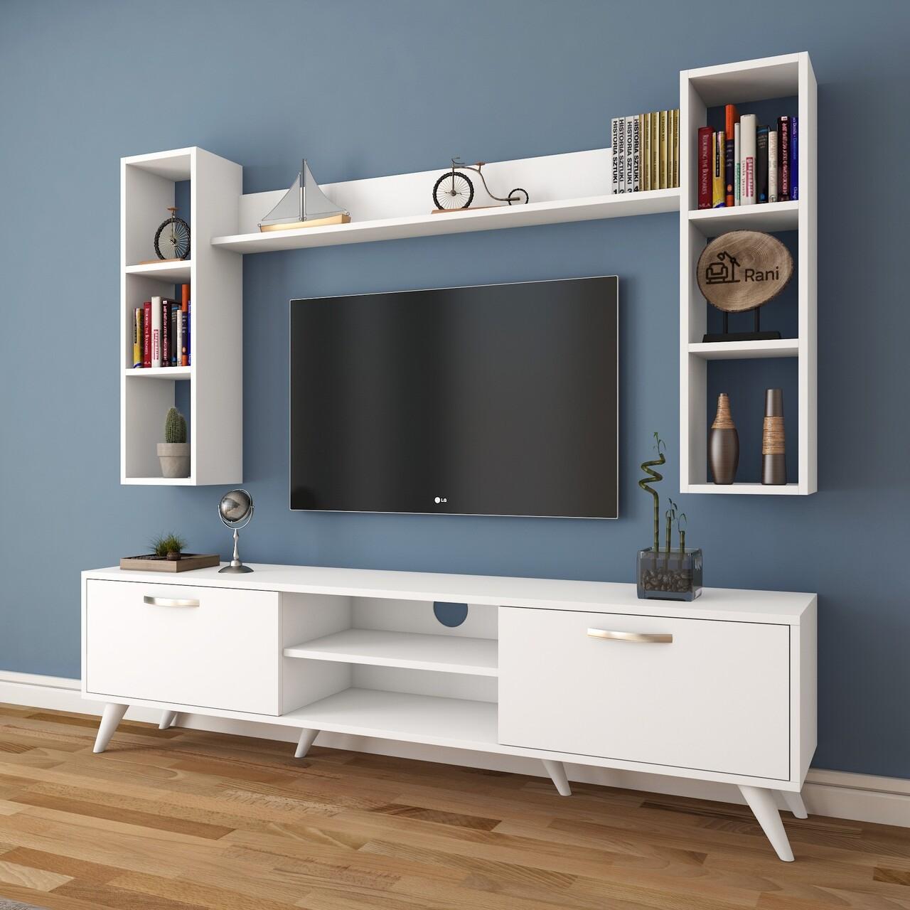 Comoda TV cu 3 rafturi de perete M5 - 239, Wren, 180 x 35 x 48.6 cm/90 cm/133 cm, white