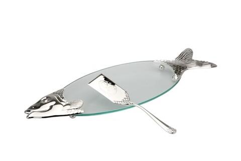 Set servire pește, platou si spatula, Hermann Bauer, argintiu