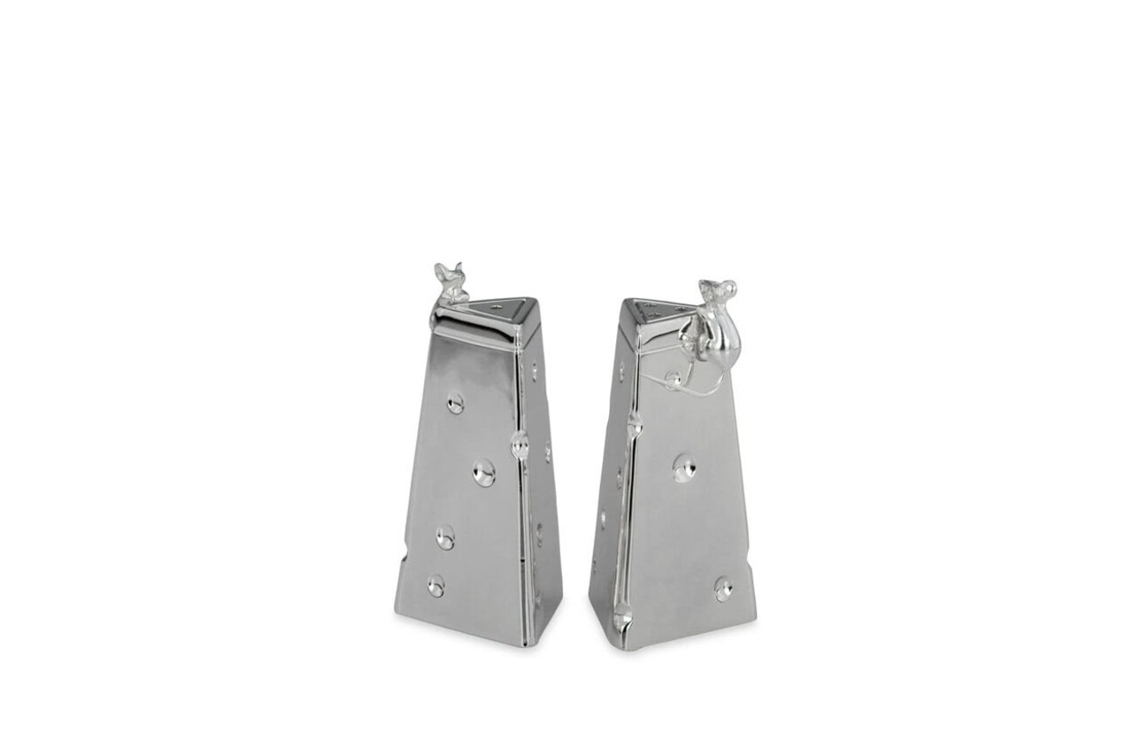 Set 2 solnite sare/piper Mouse, Hermann Bauer, argintiu