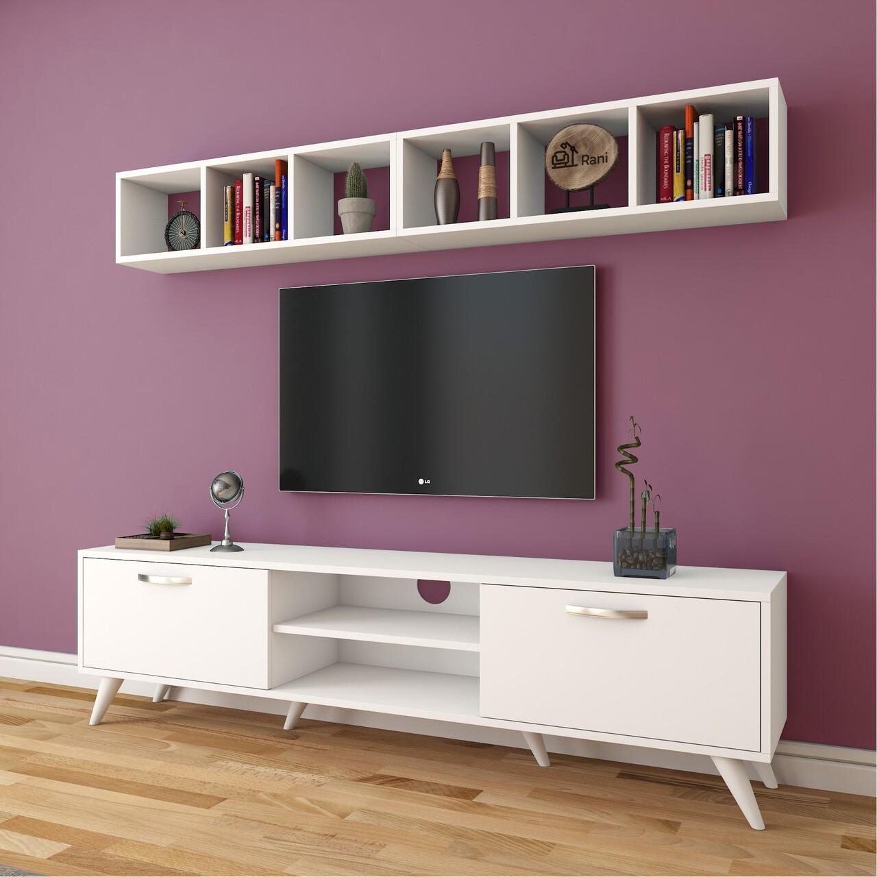 Comoda TV cu 2 rafturi M7 - 243, Wren, 180 x 35 x 48.6 cm/90 cm, white