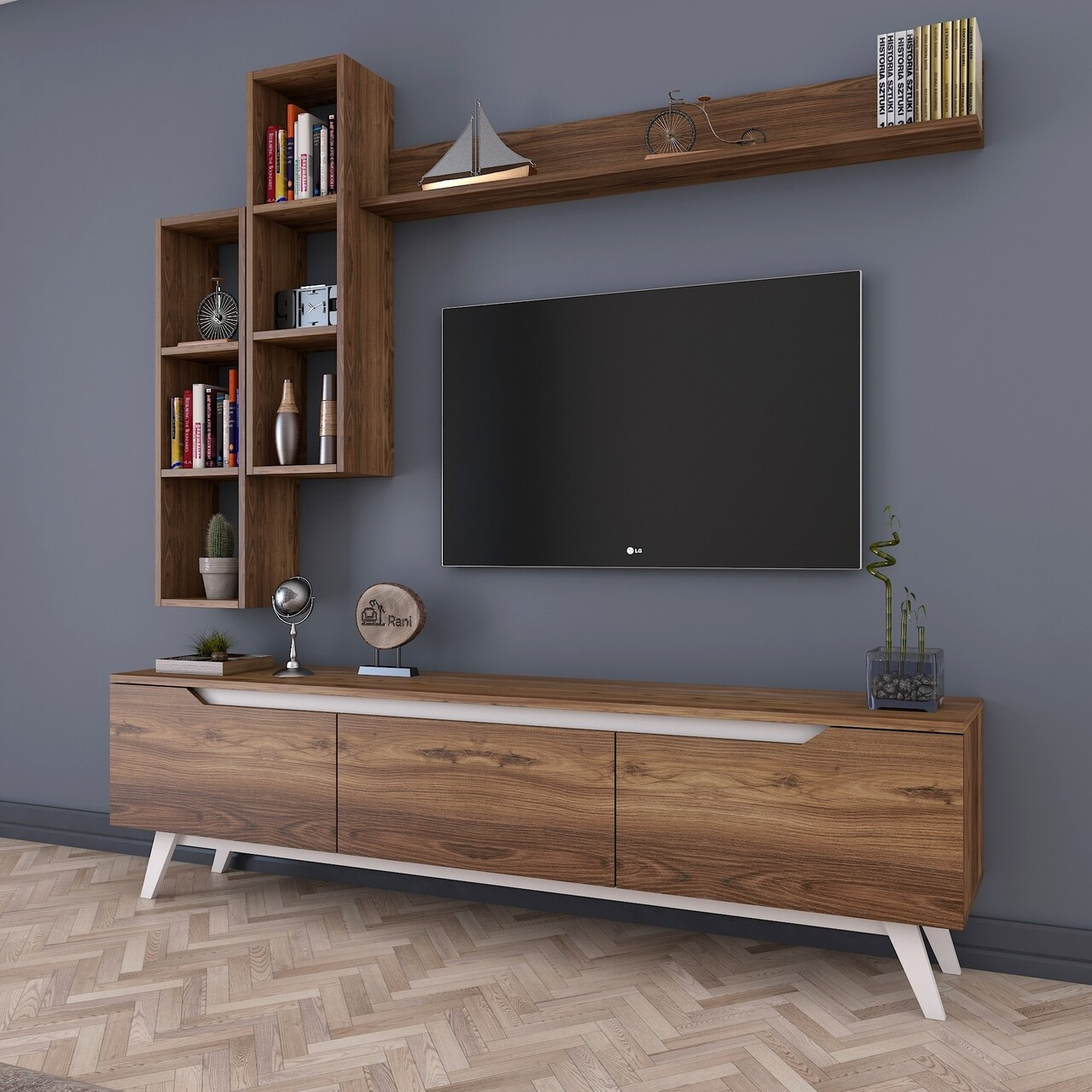 Comoda TV cu 3 rafturi de perete M16 - 833, Wren, 180 x 35 x 48.6 cm/90 cm/133 cm, walnut/white
