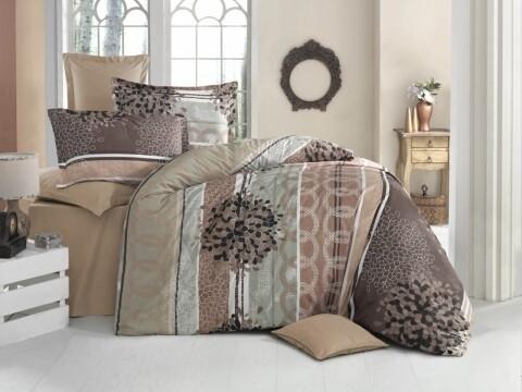 Lenjerie de pat pentru doua persoane, Terre Bedora, 100% bumbac, 6 piese