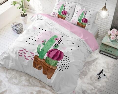 Lenjerie de pat pentru doua persoane Love your Cactus White, Sleeptime, Cotton Blended