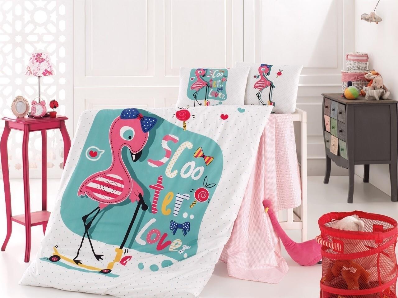 Lenjerie de pat pentru copii Flamingo, Nazenin Home, 4 piese, 100% bumbac ranforce, multicolora