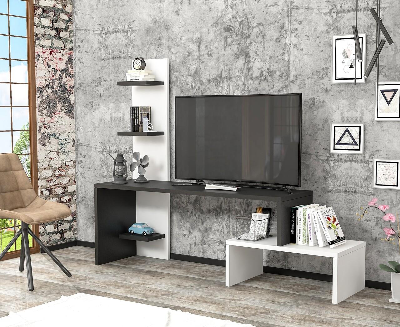 Comoda TV Raffline, 124x30x100 cm, PAL , negru