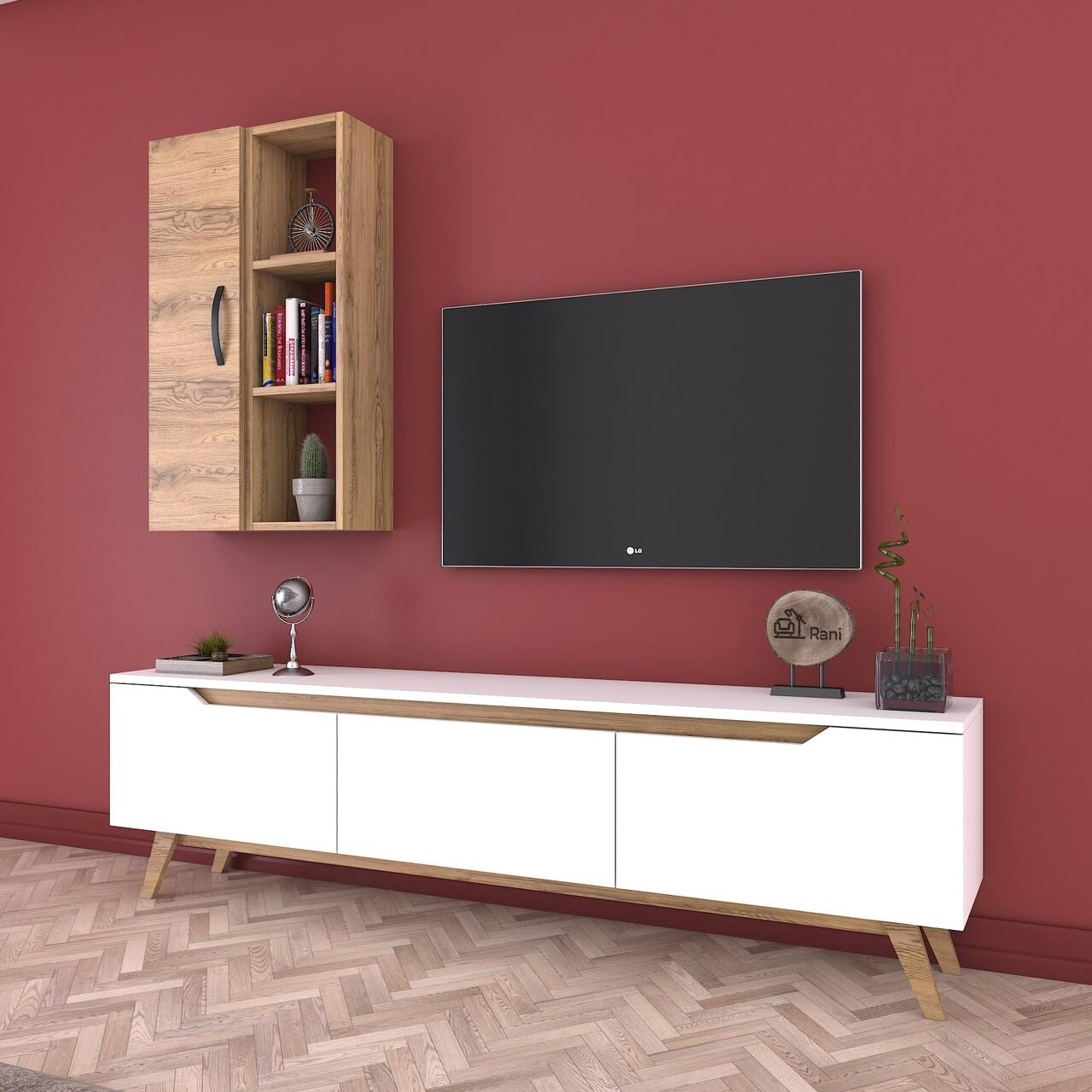 Comoda TV cu raft de perete si cabinet M37 - 422, Wren, 180 x 35 x 48.6 cm/90 cm, white/walnut