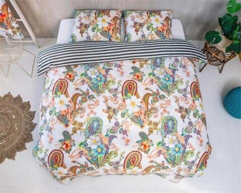 Lenjerie de pat pentru o persoana, Kemya White, Melli Mello, 2 piese, 100% bumbac satinat