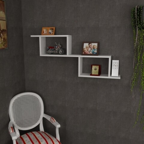 Raft pentru perete, Wooden Art, Selene White, 101.4x45x14.5 cm