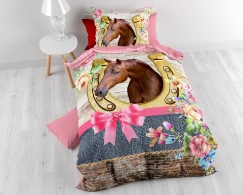 Lenjerie de pat pentru o persoana Lovely Horse Pink, Royal Textile, 100% bumbac