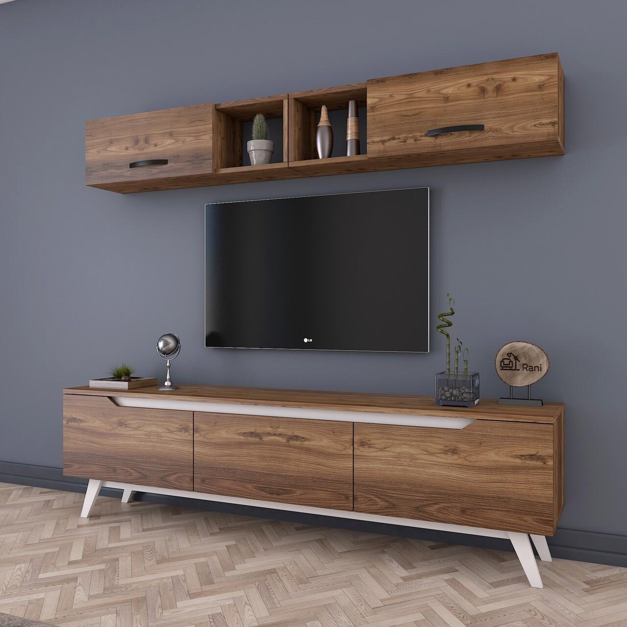 Comoda TV cu 2 rafturi de perete M4 - 826, Wren, 180 x 35 x 48.6 cm/90 cm, walnut/white