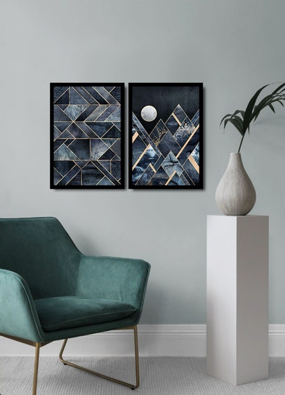 Set 2 tablouri decorative, Alpha Wall, Abstract Moon, 36x51 cm