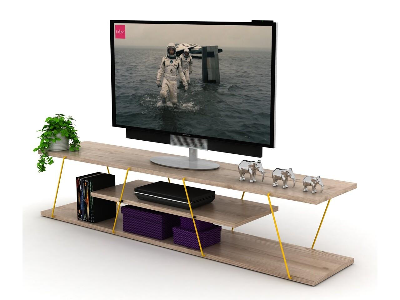 Comoda TV Rafevi Tars, 143 x 32 x 31 cm, PAL/metal, oak/galben