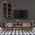 Comoda TV cu raft de perete si cabinet M38 - 303, Wren, 180 x 35 x 48.6 cm/90 cm, walnut