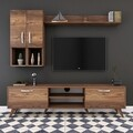 Comoda TV cu raft de perete si 2 cabinete M35 - 298, Wren, 180 x 35 x 48.6 cm/133 cm, walnut