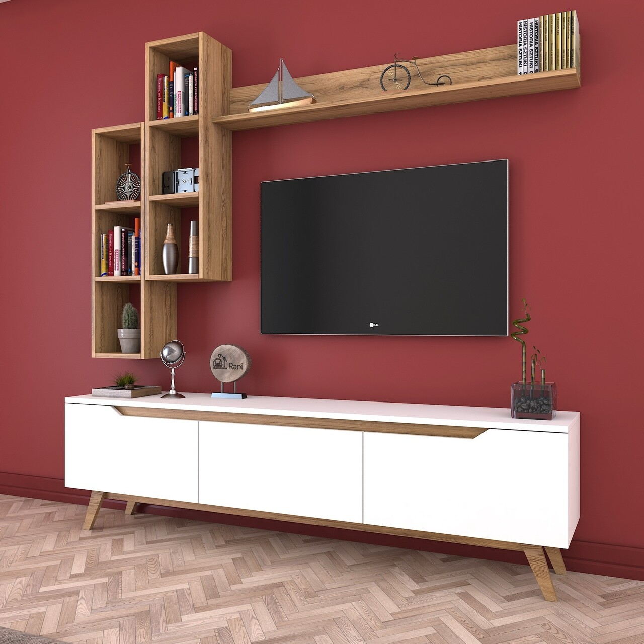Comoda TV cu 3 rafturi de perete M16 - 387, Wren, 180 x 35 x 48.6 cm/90 cm/133 cm, white/walnut