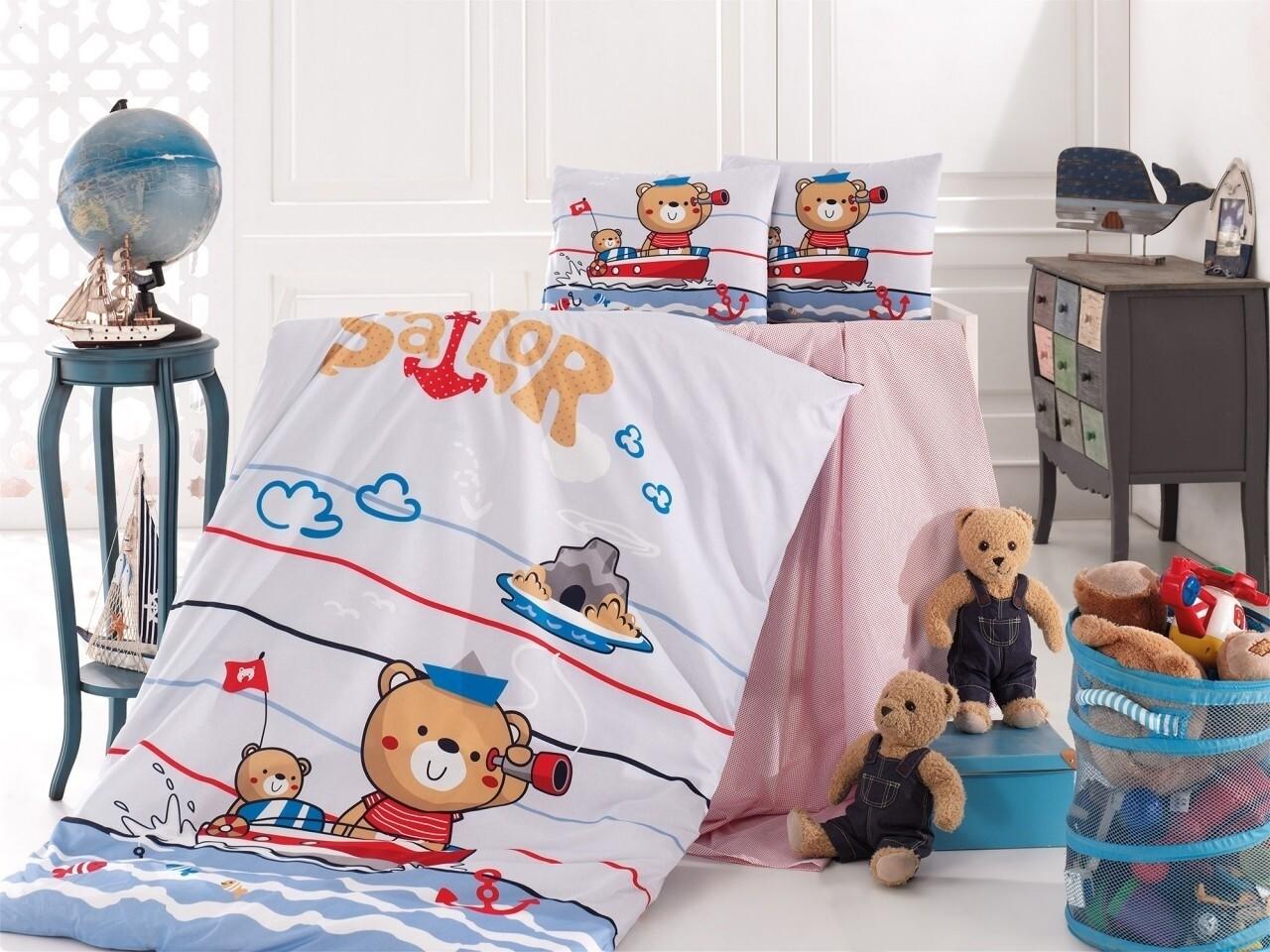 Lenjerie de pat pentru copii Sailor, Nazenin Home, 4 piese, 100% bumbac ranforce, multicolora