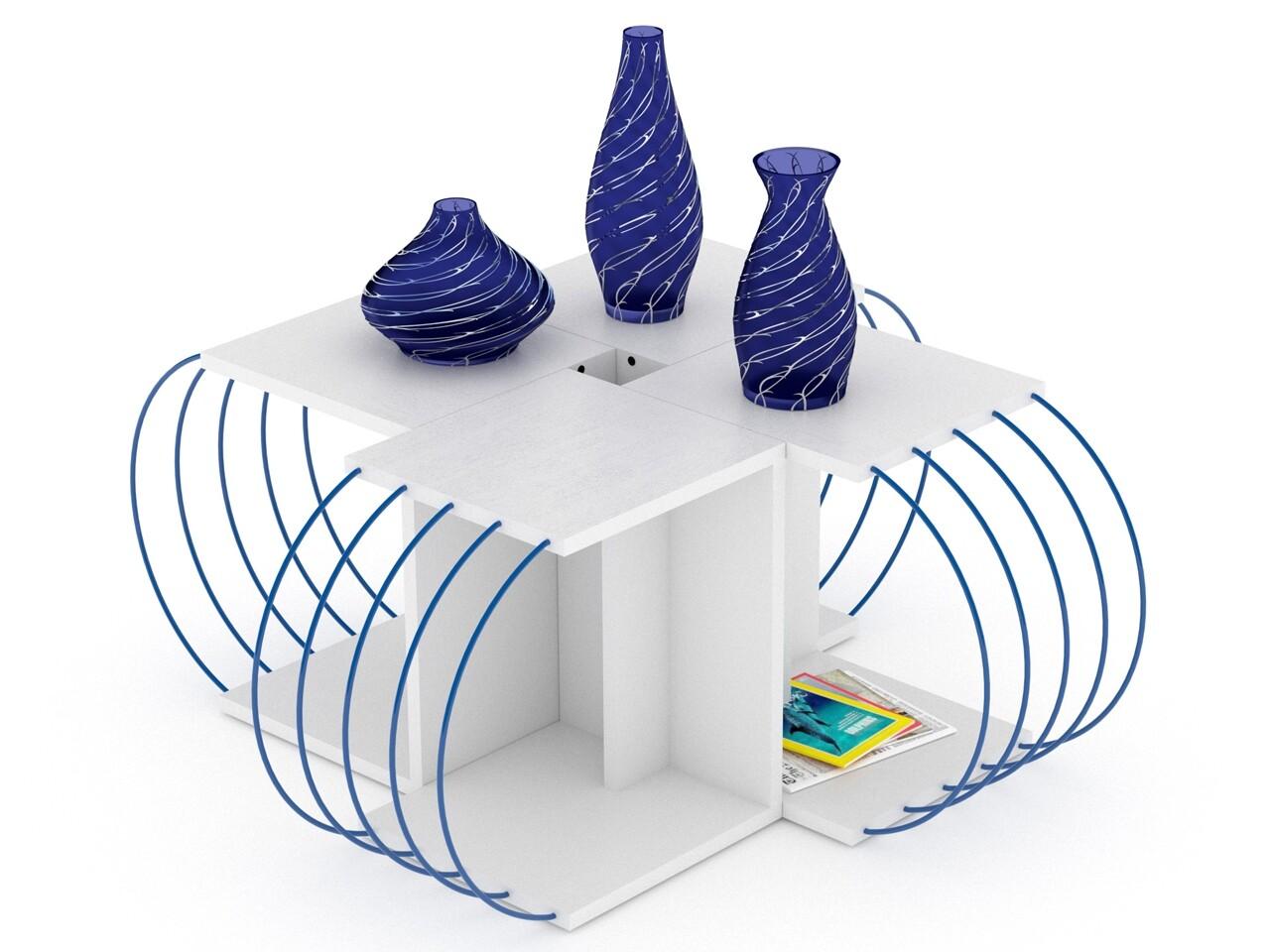 Set 4 masute de cafea Rafevi Case, 47x30x42 cm, Alb/albastru