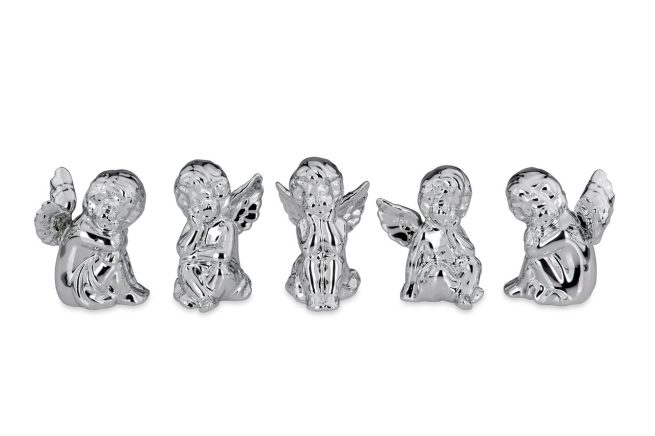 Set 5 decoratiuni Angel, Hermann Bauer, portelan, argintiu
