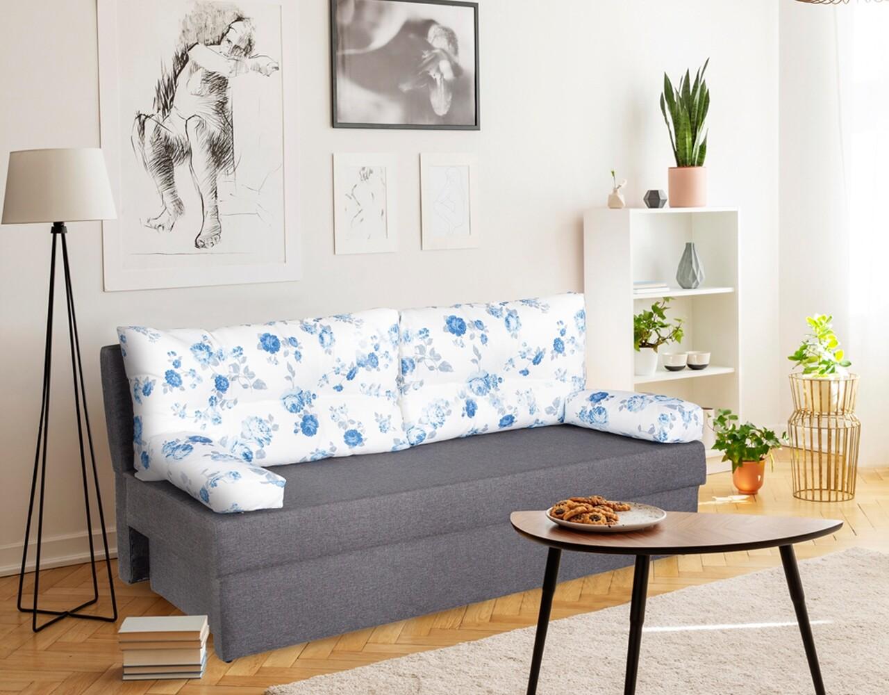 Canapea extensibila Alfi Grey Blue Anemone 192 x 80 x 77 cm + lada de depozitare