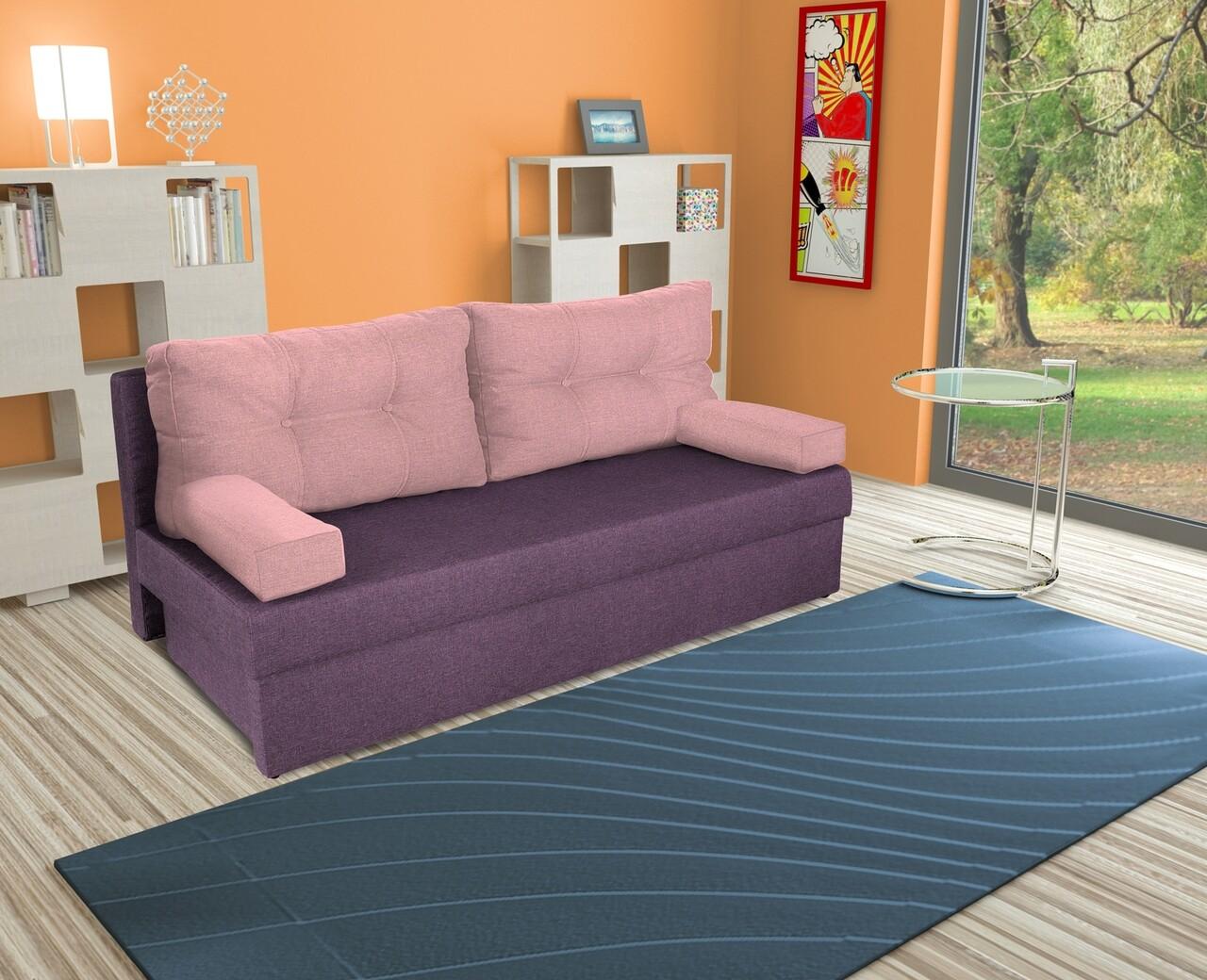Canapea extensibila Alfi 192x80x77 cm cu lada de depozitare, Purple/Pink Flamingo