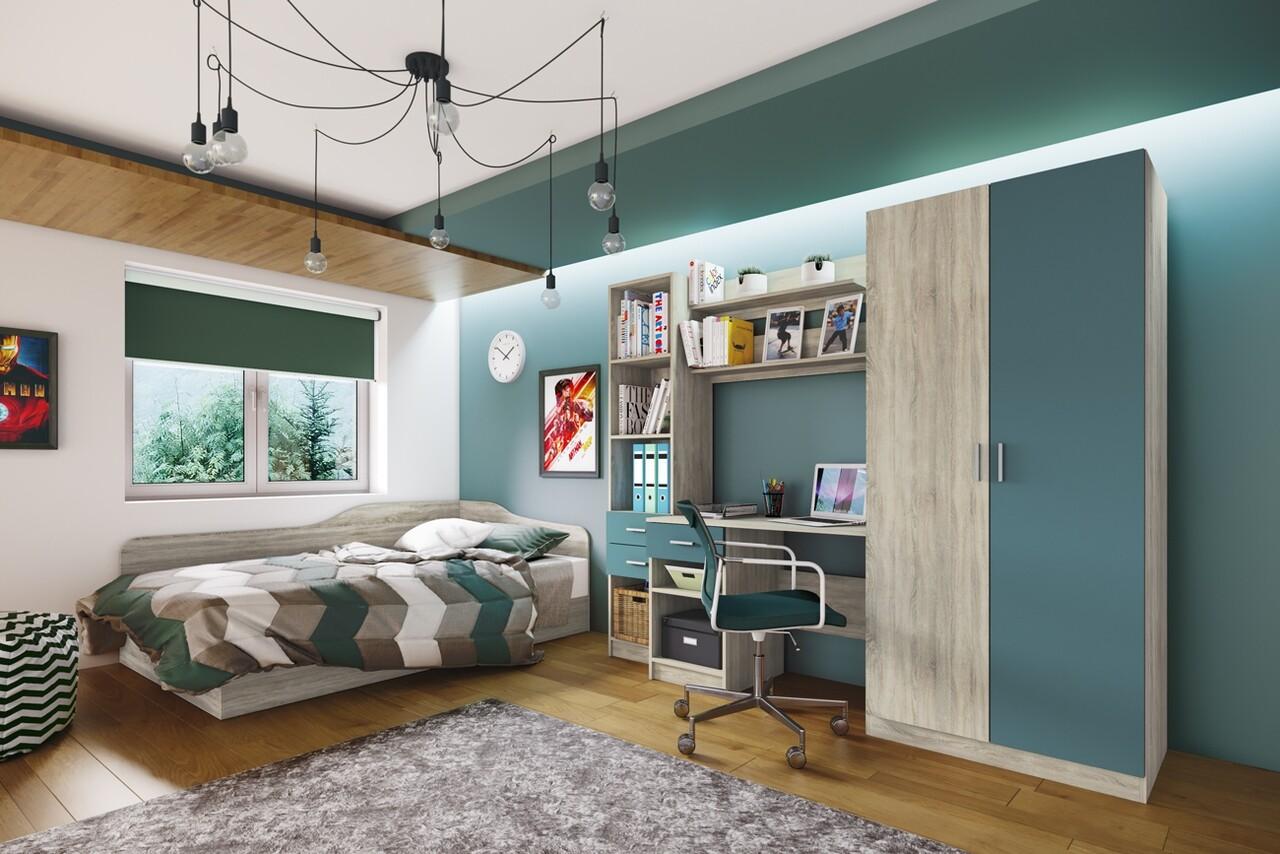 Mobilier pentru camera copilului, Bedora, City 5011, 220 x 52.5 x 180 cm, PAL, sonoma/albastru