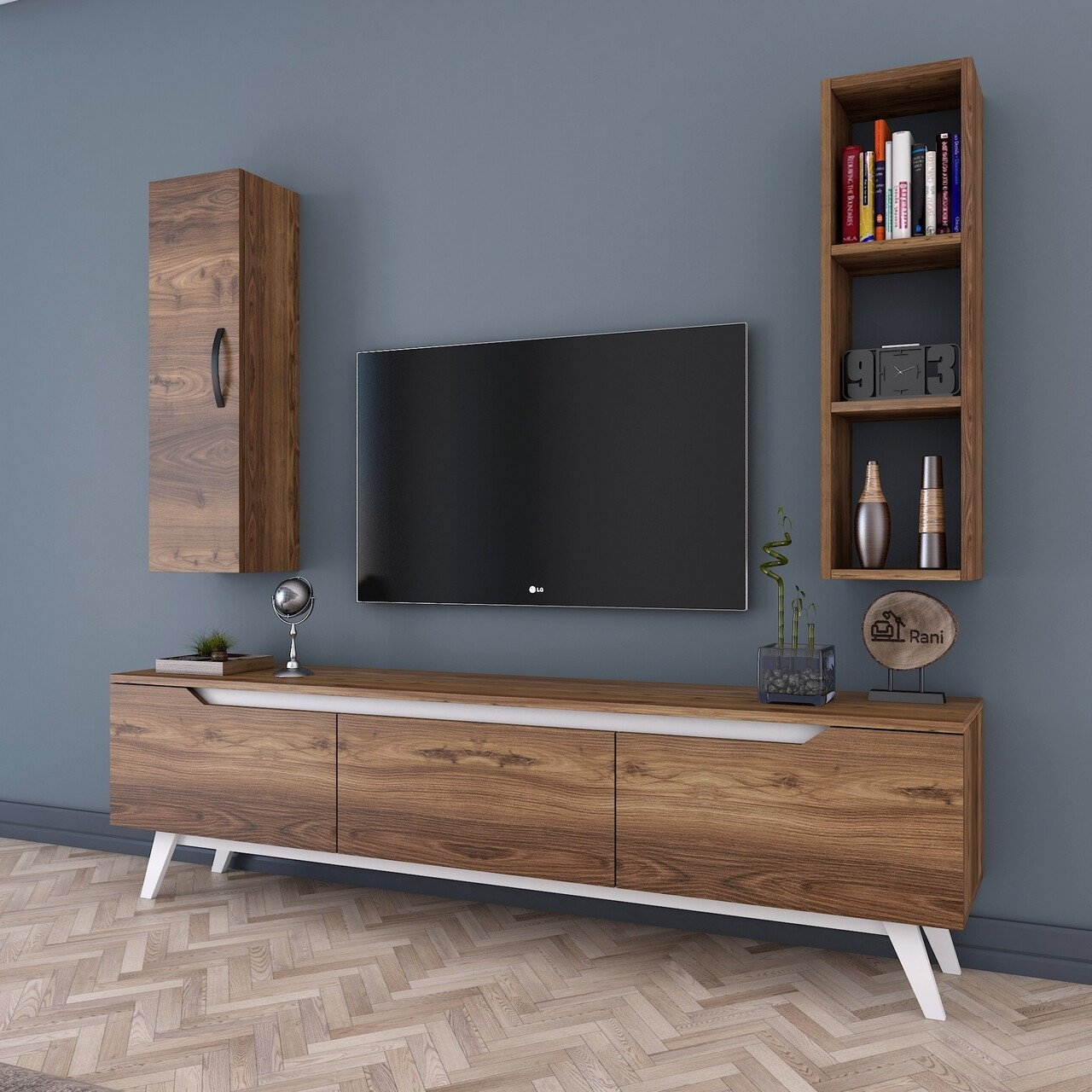Comoda TV cu raft de perete si cabinet M14 - 838, Wren, 180 x 35 x 48.6 cm/90 cm, walnut/white