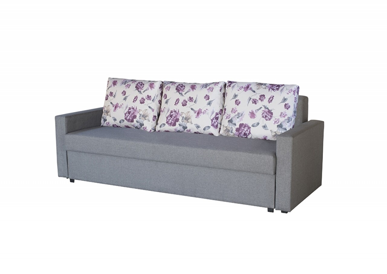Canapea Extensibila Firenze Grey Purple Flower 218x85x85 cm + lada de depozitare