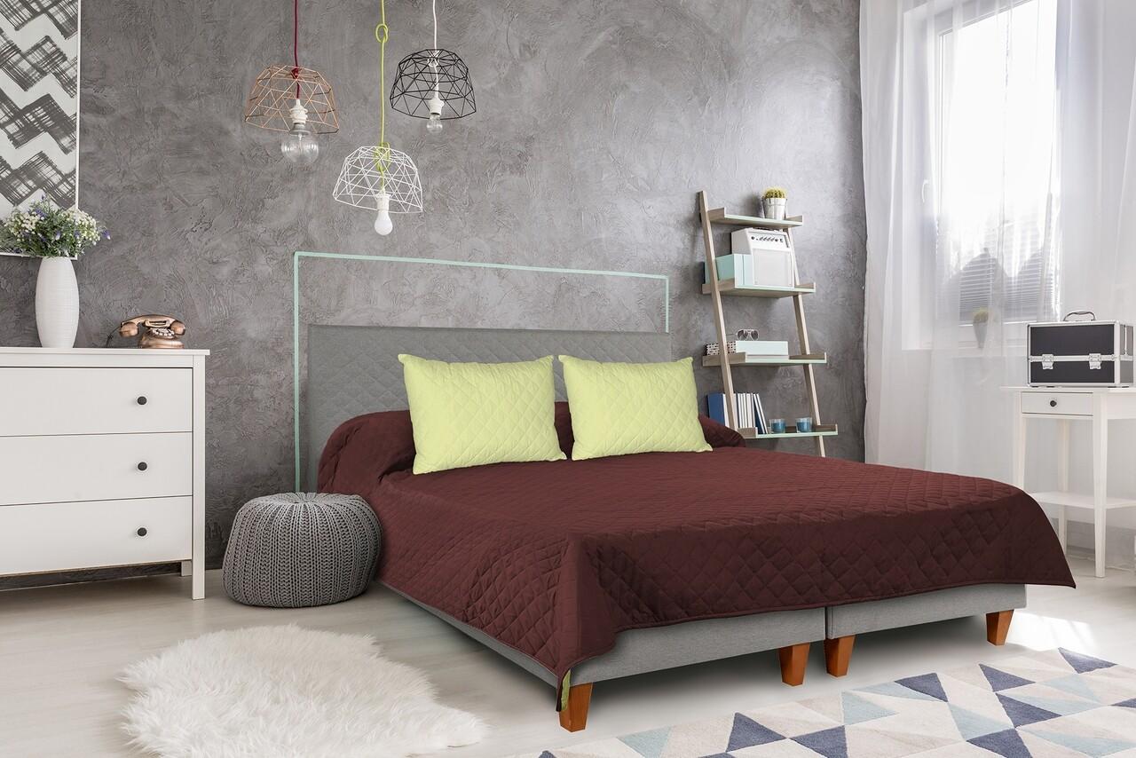 Cuvertura matlasata cu 2 fete Alcam, 210x220 cm, ChocoLime