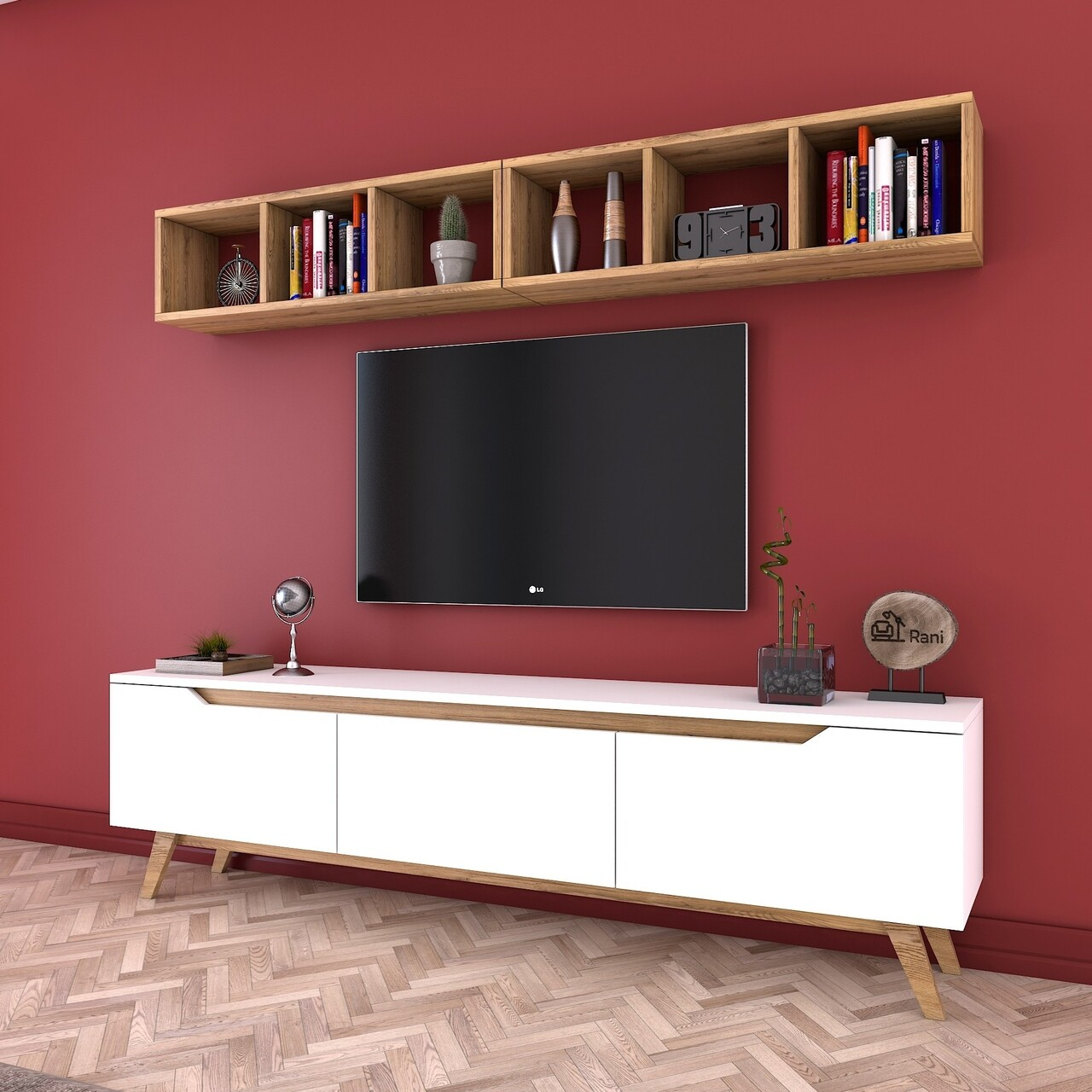 Comoda TV cu 2 rafturi M7 - 409, Wren, 180 x 35 x 48.6 cm/90 cm, white/walnut