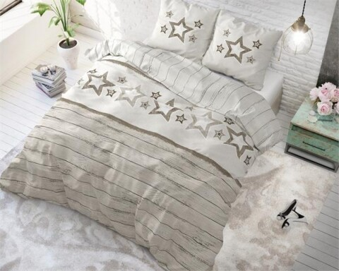 Lenjerie de pat pentru doua persoane Stars and Stars Taupe, Sleeptime, Cotton Blended