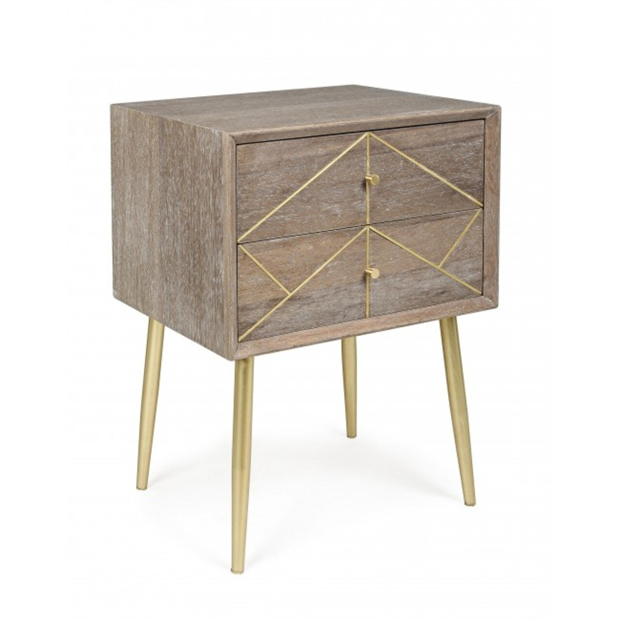 Comoda cu 2 sertare, Filomena, Bizzotto, 45x35x59.5 cm, MDF/lemn de tec
