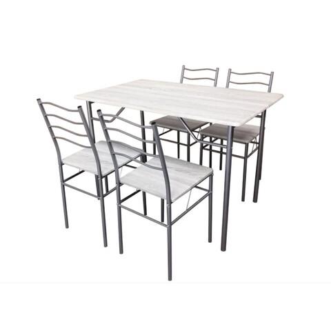 Set dining Bedora Mirazur, masa cu 4 scaune, Nuanta Mesteacan Alb