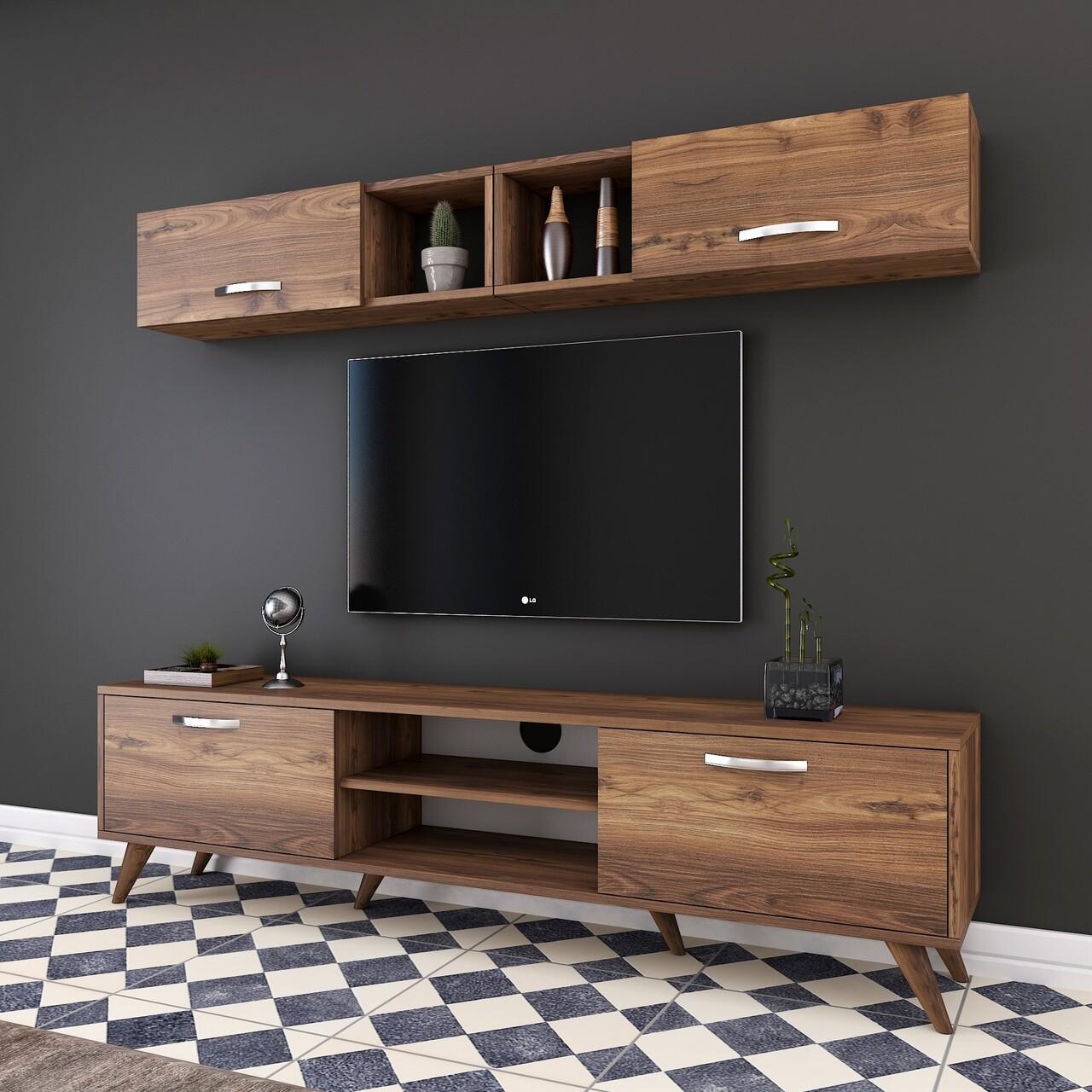 Comoda TV cu 2 rafturi de perete M4 - 233, Wren, 180 x 35 x 48.6 cm/90 cm, walnut