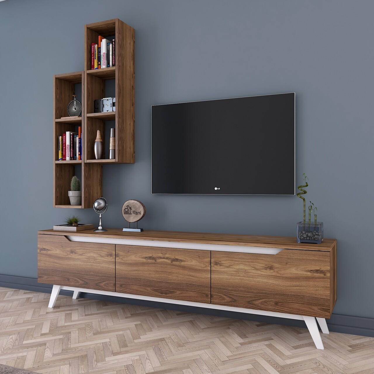 Comoda TV cu 2 rafturi de perete M15 - 839, Wren, 180 x 35 x 48.6 cm/90 cm, walnut/white