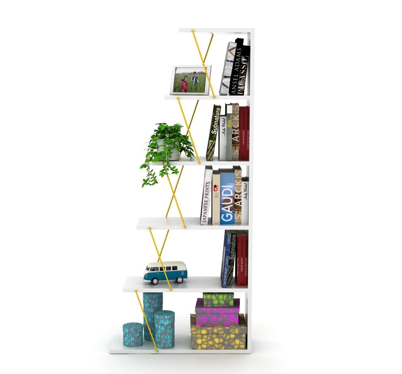 Biblioteca Rafevi Tars, 65x22x146 cm, Alb/galben