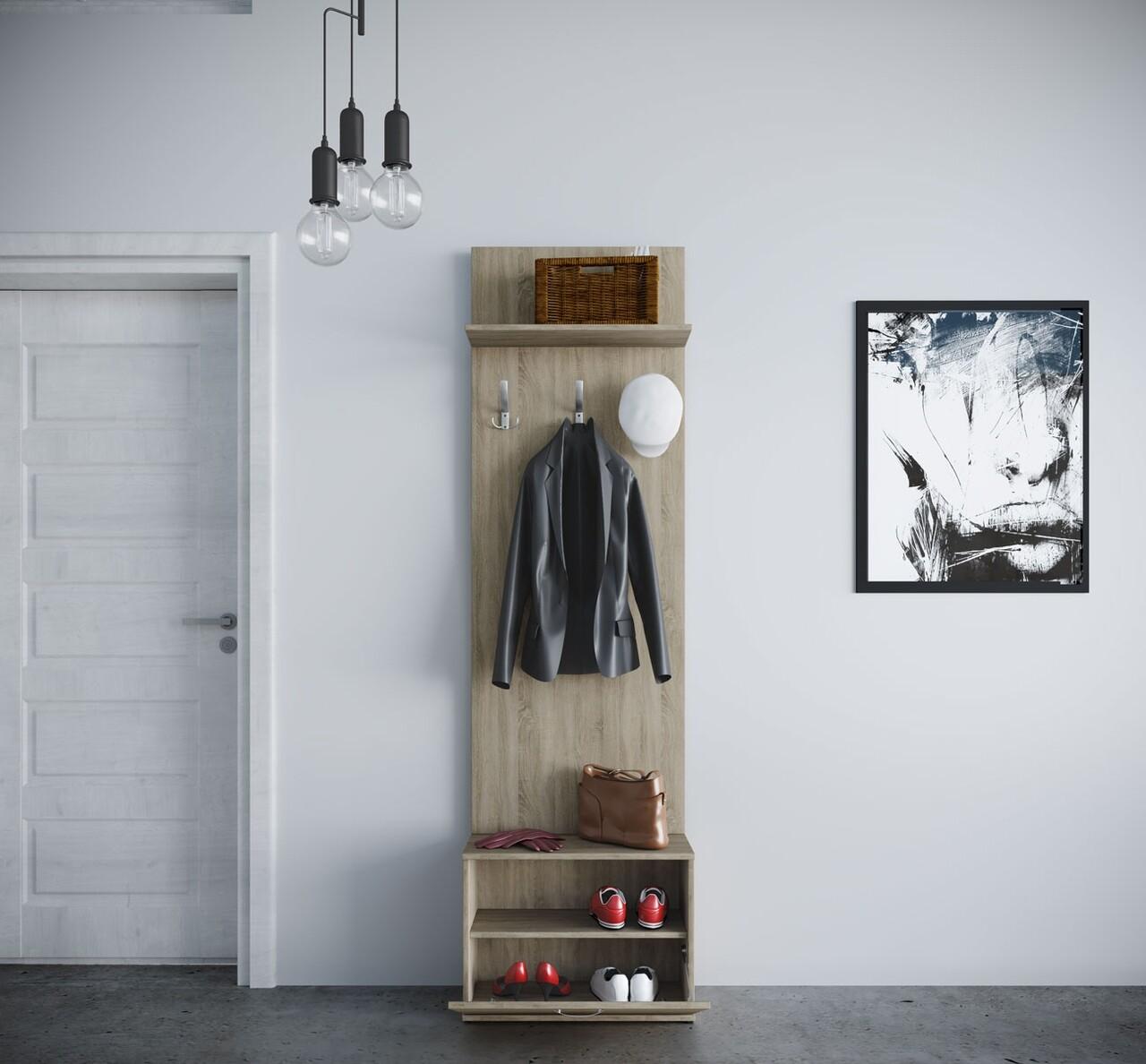 Cuier cu pantofar, Bedora, City 4003, 60 x 29.5 x 191 cm, PAL, sonoma